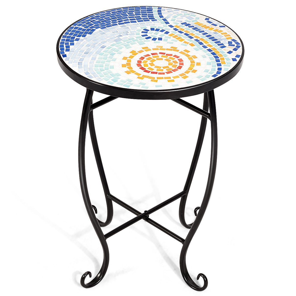 giantex mosaic round side accent table patio plant outdoor tables stand porch beach theme balcony back deck pool decor metal cobalt glass top indoor coffee end collapsible ikea