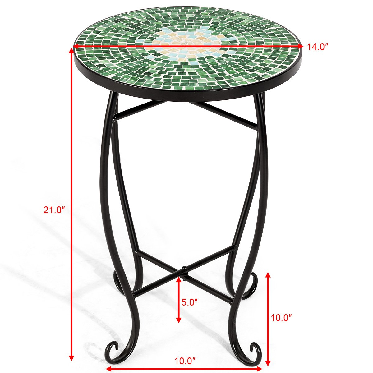 giantex mosaic round side accent table patio plant stand porch beach outdoor theme balcony back deck pool square top furniture retro designer vintage replica kirklands bar stools