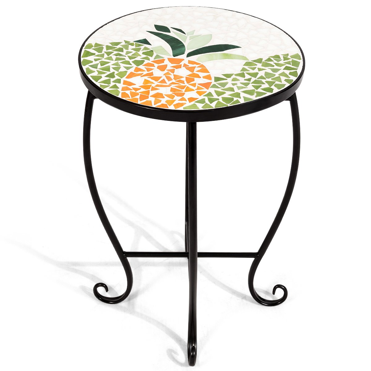giantex mosaic round side accent table patio plant stand porch beach theme balcony back deck pool oak and glass nest tables west elm wood coffee ashley signature metal dining