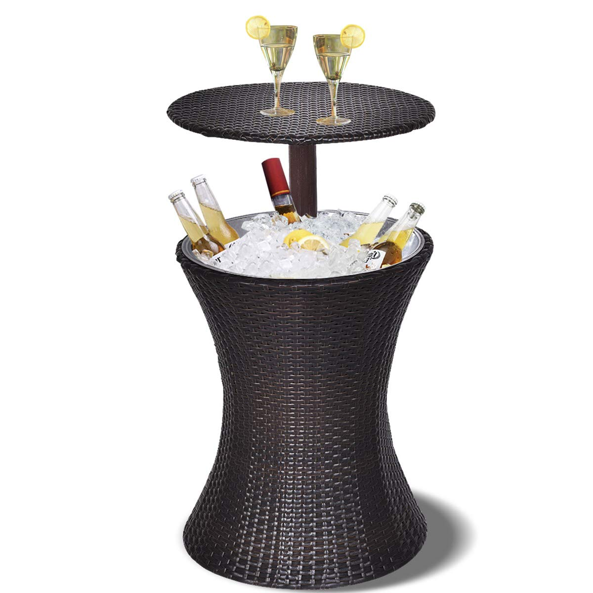 giantex outdoor cool bar rattan style patio side table beverage cooler adjustable height cocktail coffee for party deck pool use brown garden office depot furniture nautical rope