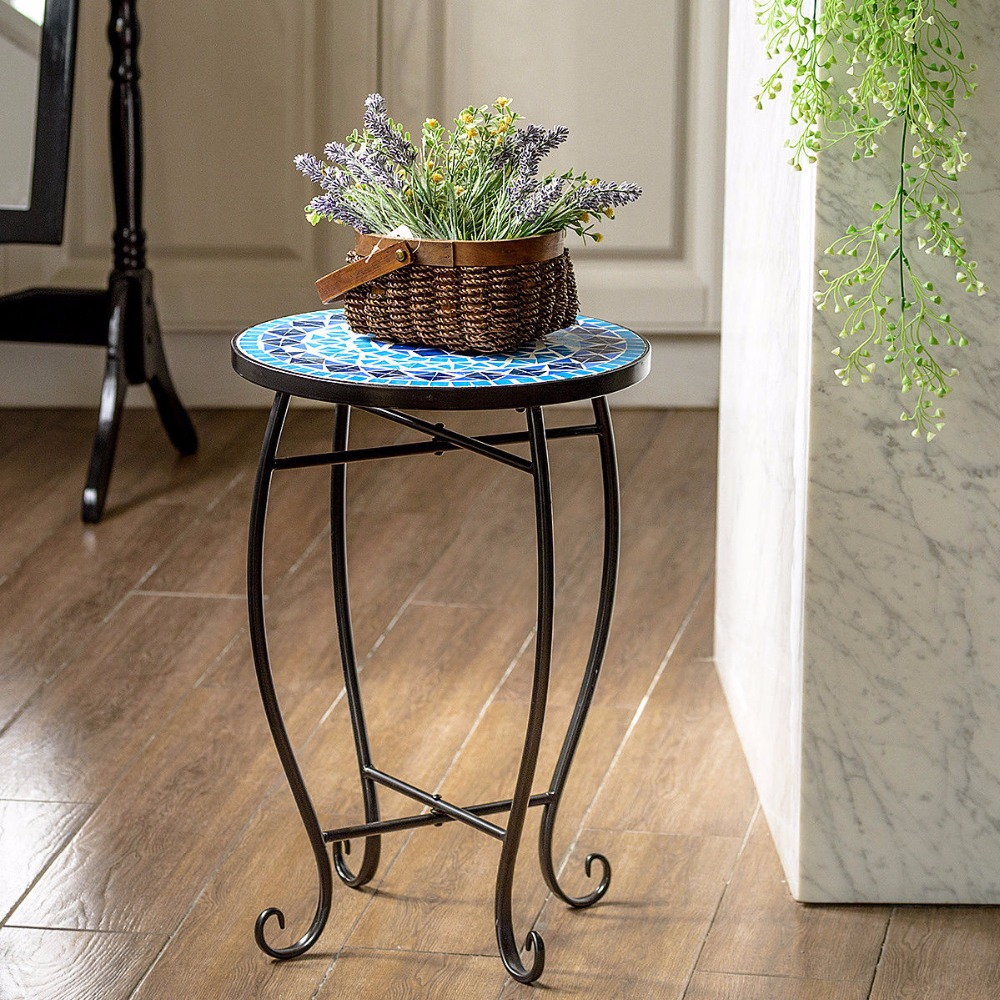 giantex outdoor indoor accent table plant stand cobalt blue color scheme garden steel home furniture console tables from dale tiffany stained glass lamp shade farmhouse coffee