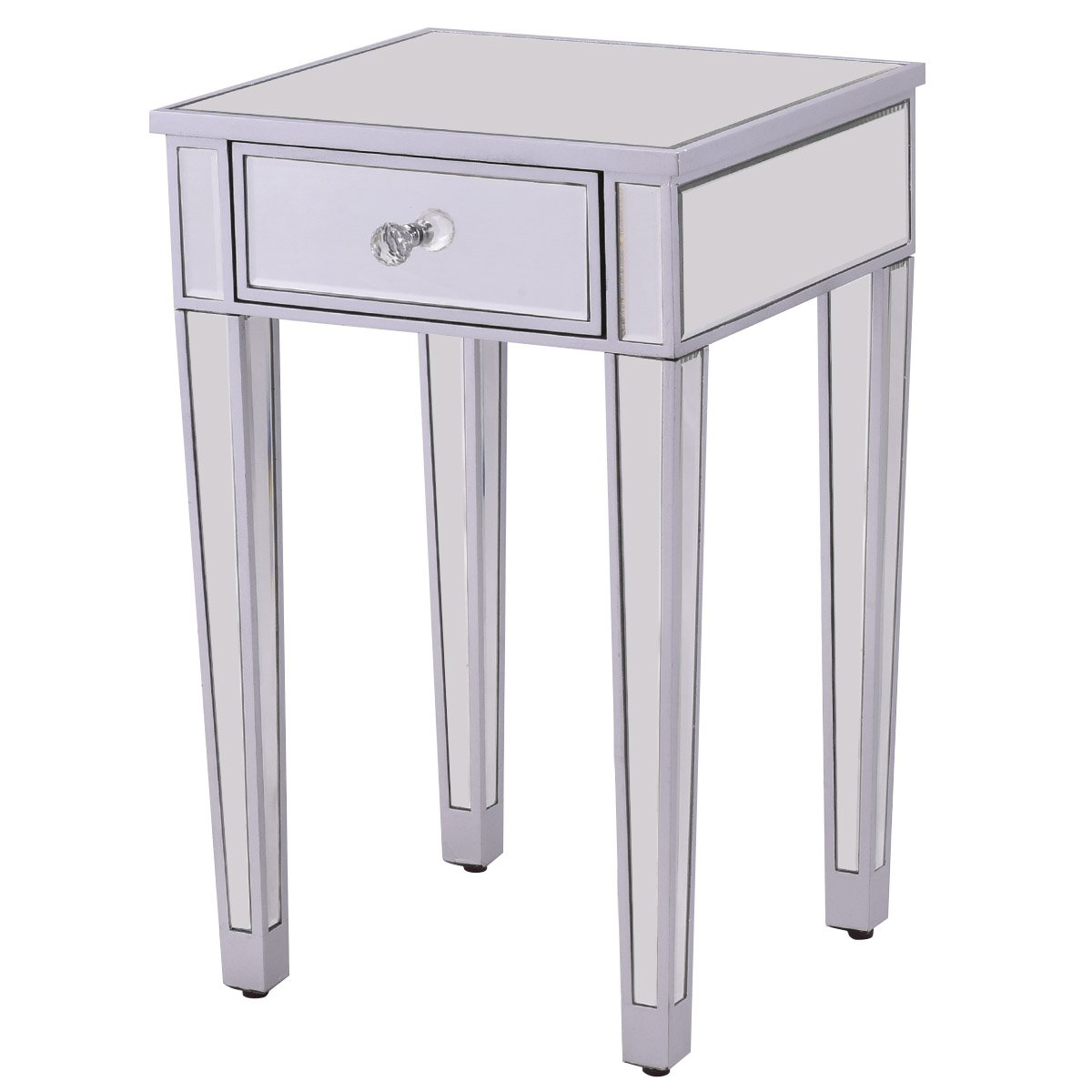 giantex pcs mirrored end table nightstand one mirage accent drawer home bedside storage cabinet silver kitchen dining living room centerpiece ideas distressed blue side drink