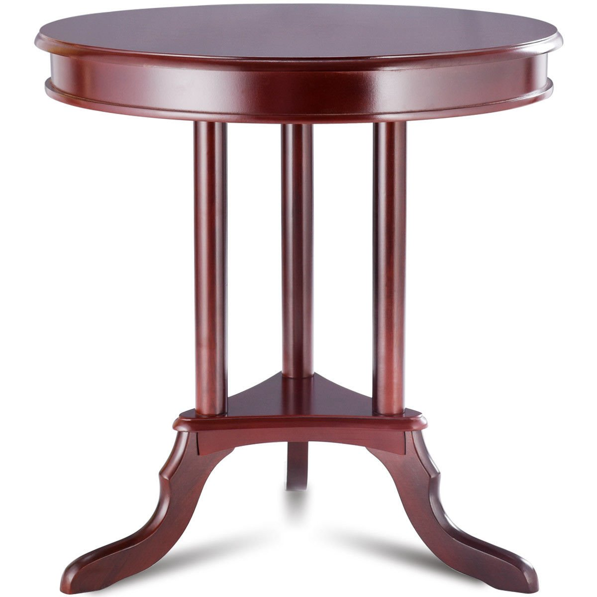 giantex round accent table end side home with shelf furnishing slanted legs kitchen dining target living room tables cherry coffee set clock design tall bistro ethan allen used