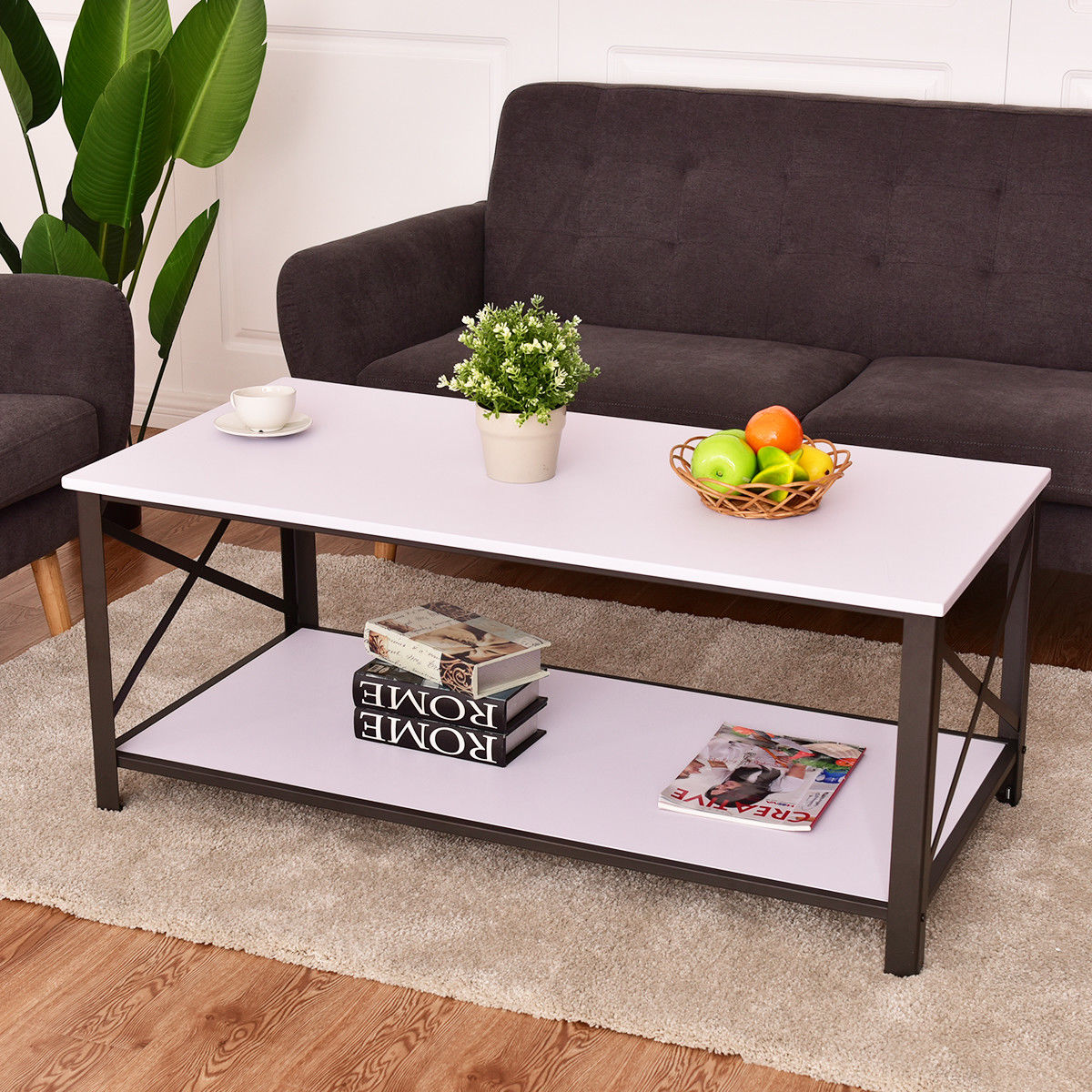 giantex wood coffee table cocktail side accent metal frame with storage shelf white living room tables furniture owings target beer cooler chair end coral lamp pier one vanity