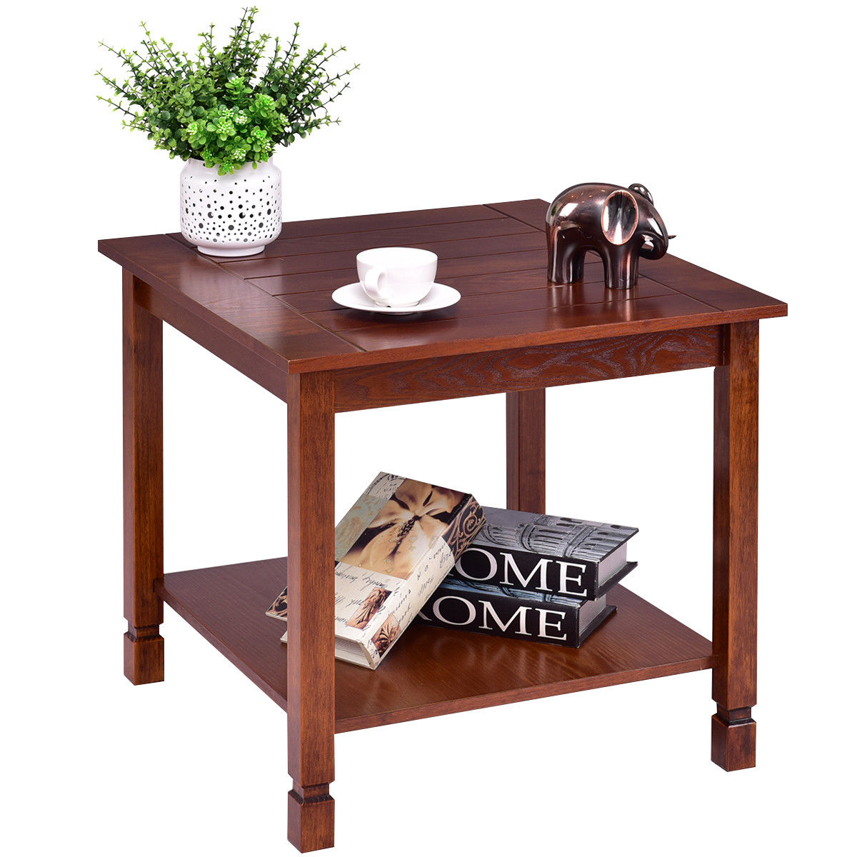 giantex wood side table living room end night stand coffee with storage shelf walnut basket furniture tables from spaces slab legs outdoor garden sets scandinavian style pine log
