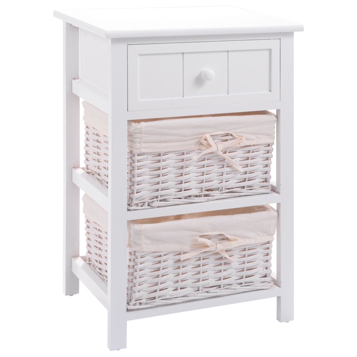 giantex wooden nightstand storage drawer baskets accent table with basket drawers and open shelf for bedroom bedside sofa white end kitchen dining folding leaf console behind