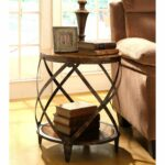 give your home contemporary and industrial appeal with this accent wood metal table constructed distressed frame drum shape features storage coffee nightstand lamps wall decor 150x150