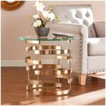 glam accent table end sidetable glass metal round shape tables contemporary transitional modern home living room furniture great for smaller areas artistic with wheels blue nest 150x150