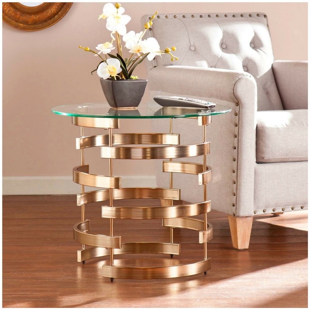 glam accent table end sidetable glass metal round shape tables contemporary transitional modern home living room furniture great for smaller areas artistic with wheels blue nest