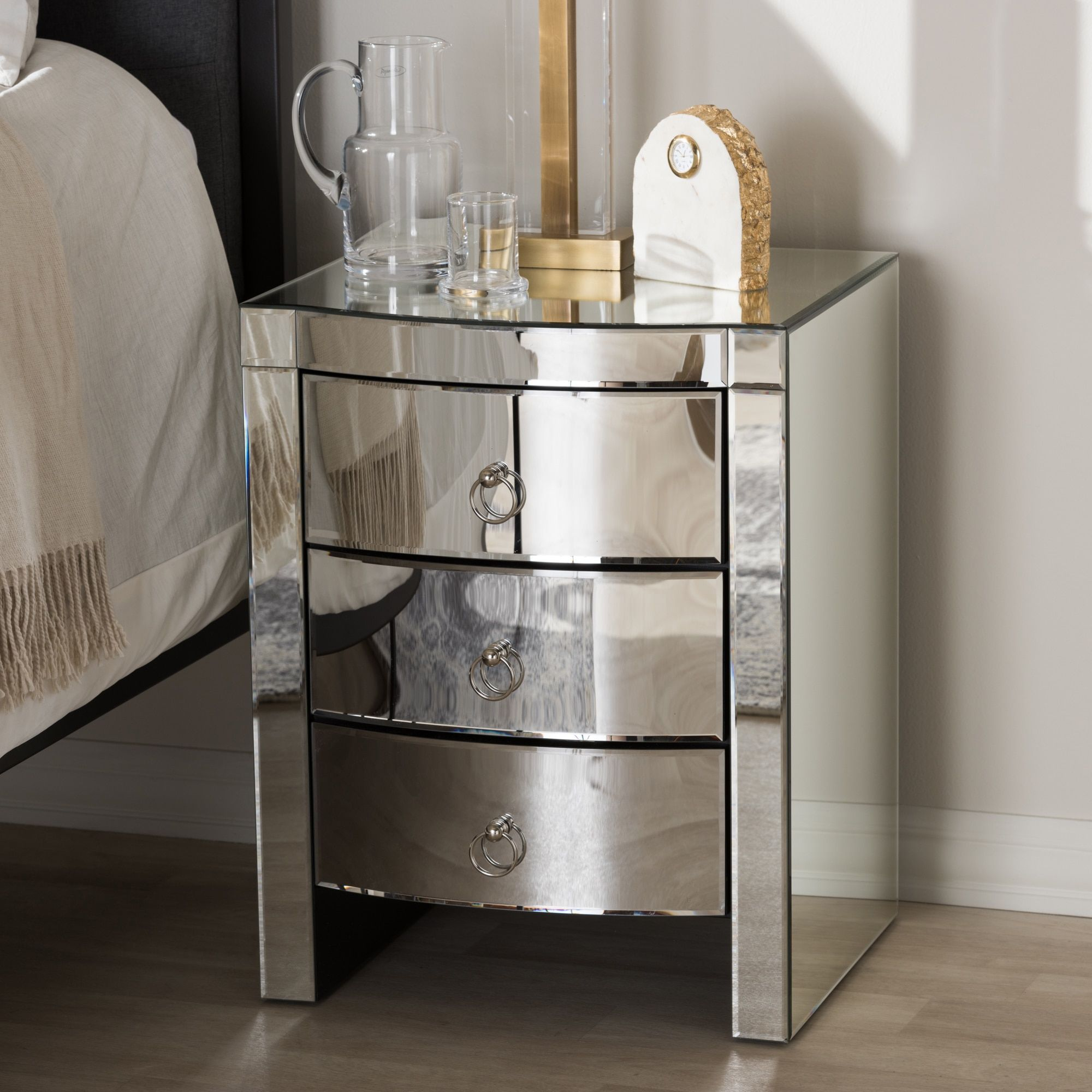 glam mirrored nightstand baxton studio products don accent table clear narrow bedside ideas living room coffee decor ikea white large trestle slim drop leaf compact dining set