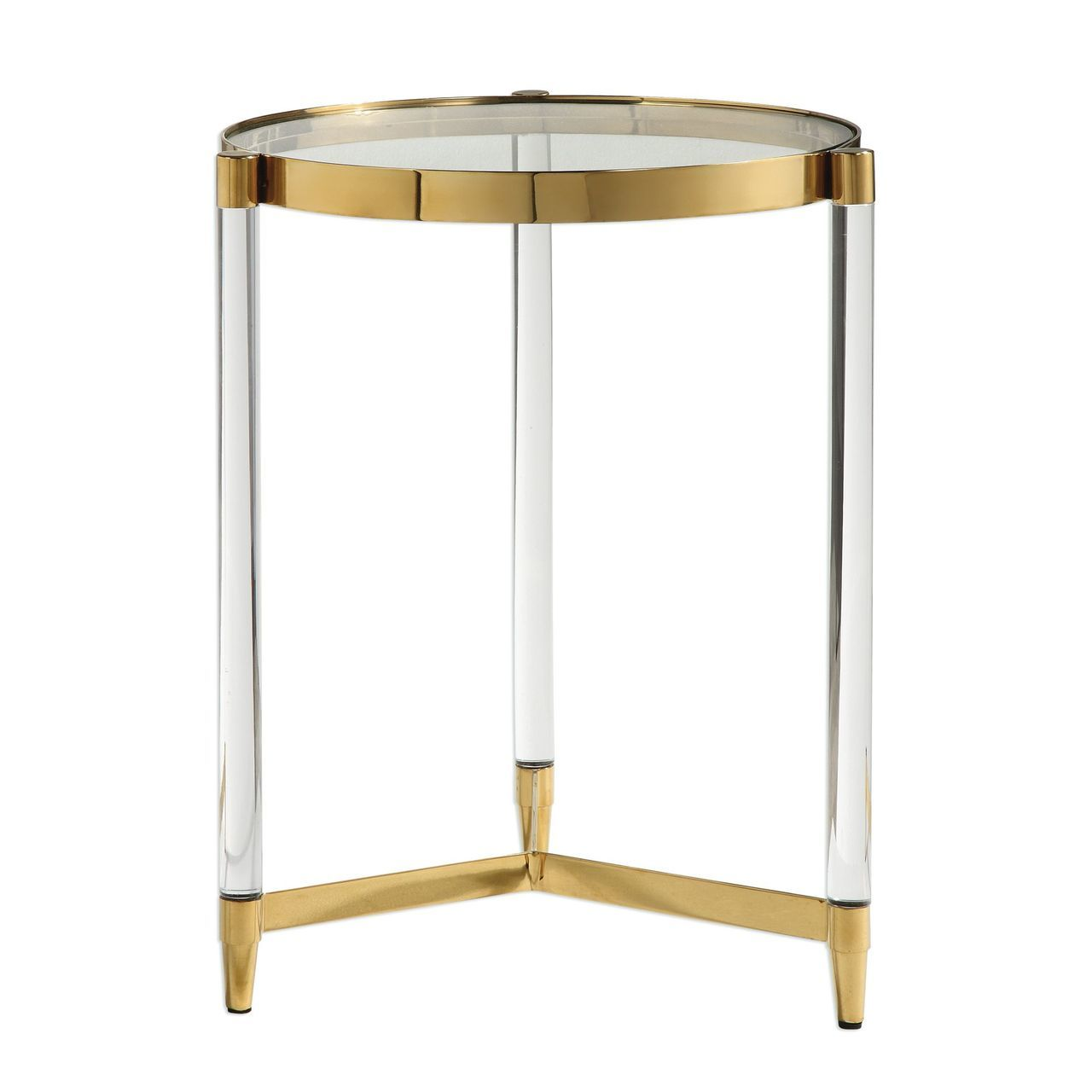 glam modern clear rods glass gold accent table round pedestal side small swivel chair hallway console threshold windham cabinet with drawer outdoor sofa diy wood top ideas metal