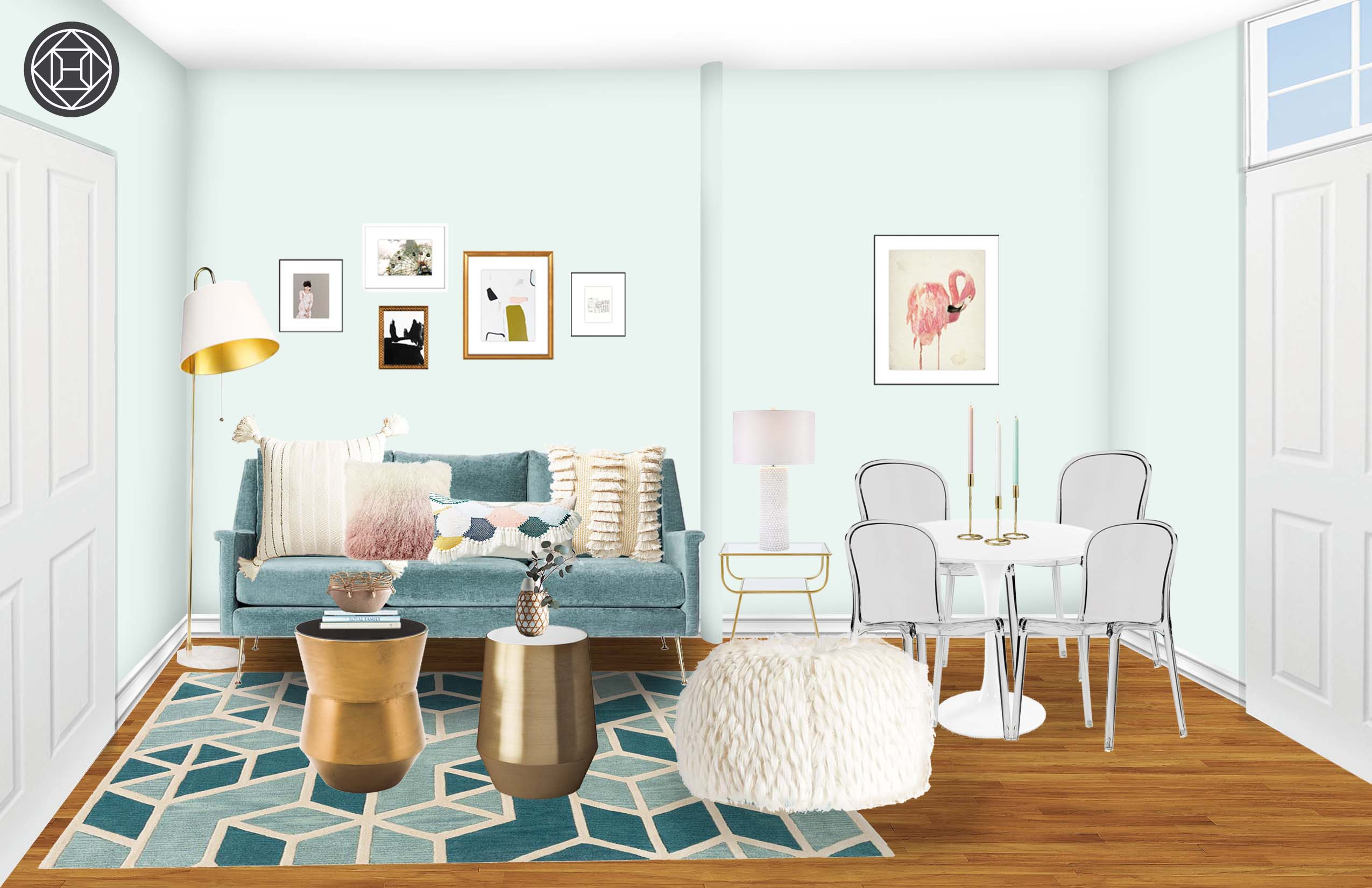 glam scandinavian living room design havenly interior designer mawr metal accent table final painted furniture grey linens magnussen allure end cordless touch lamp cool round