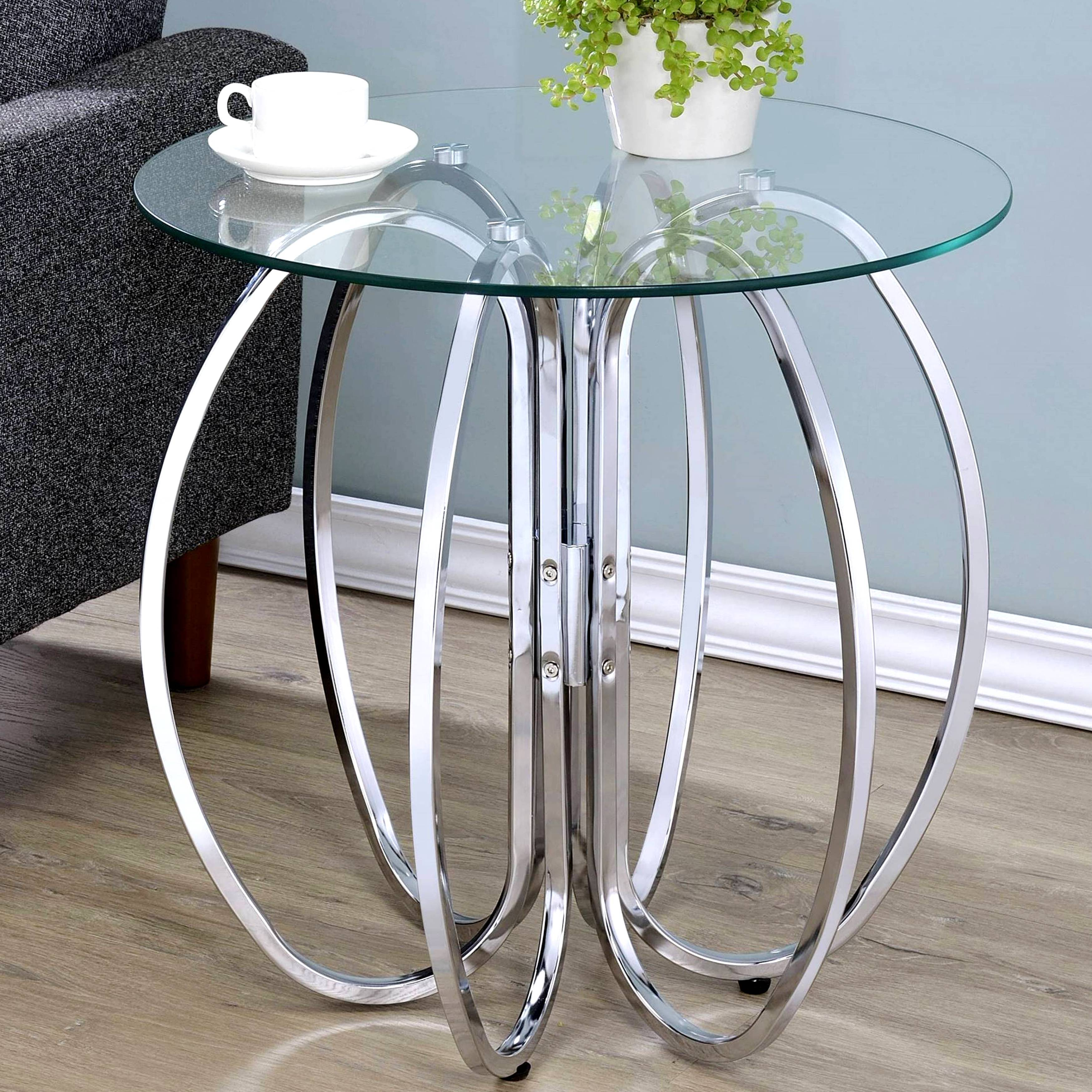glamorous chrome finish uniquely crafted accent table with glass top simplify oval free shipping today metal garden modern lounge large umbrella stand hayworth furniture target