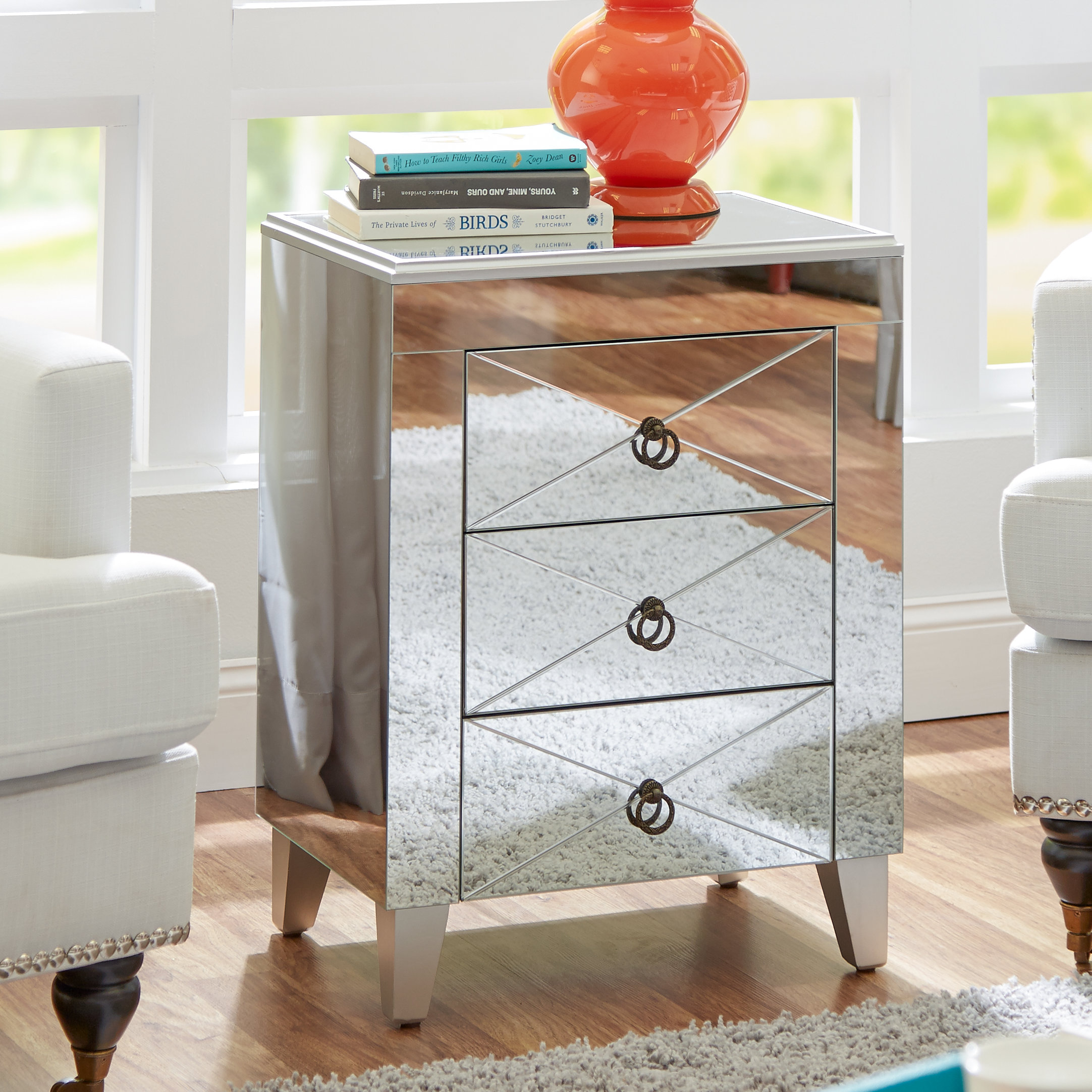 glass door end table linnea with storage zoey night accent baskets walnut small armchairs for living room two drawer mirrored bedside decorative home decor grohe rainshower target