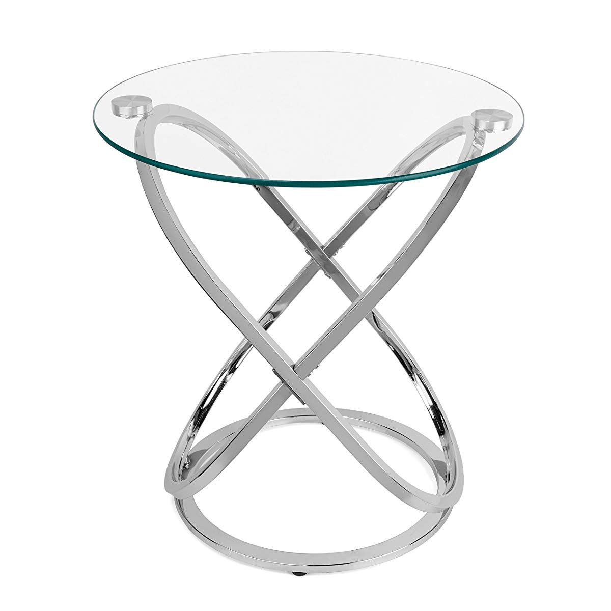 glass round end table silver side accent pier one wicker furniture bronze kitchen sets for desk behind couch ashley carlyle coffee battery powered house lights small white with