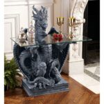 glass top accent tables furniture design toscano iipsrv fcgi unicorn table the subservient dragon topped sculptural patio drink stump comfortable chairs rattan garden homebase 150x150