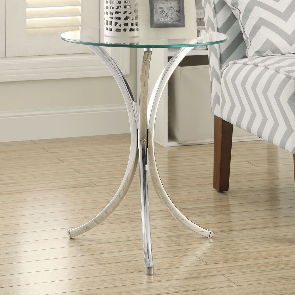 glass top chrome base round side end table kitchen dining wood accent five below mosaic bistro patio set home decoration design high under cabinet wine rack entryway console small