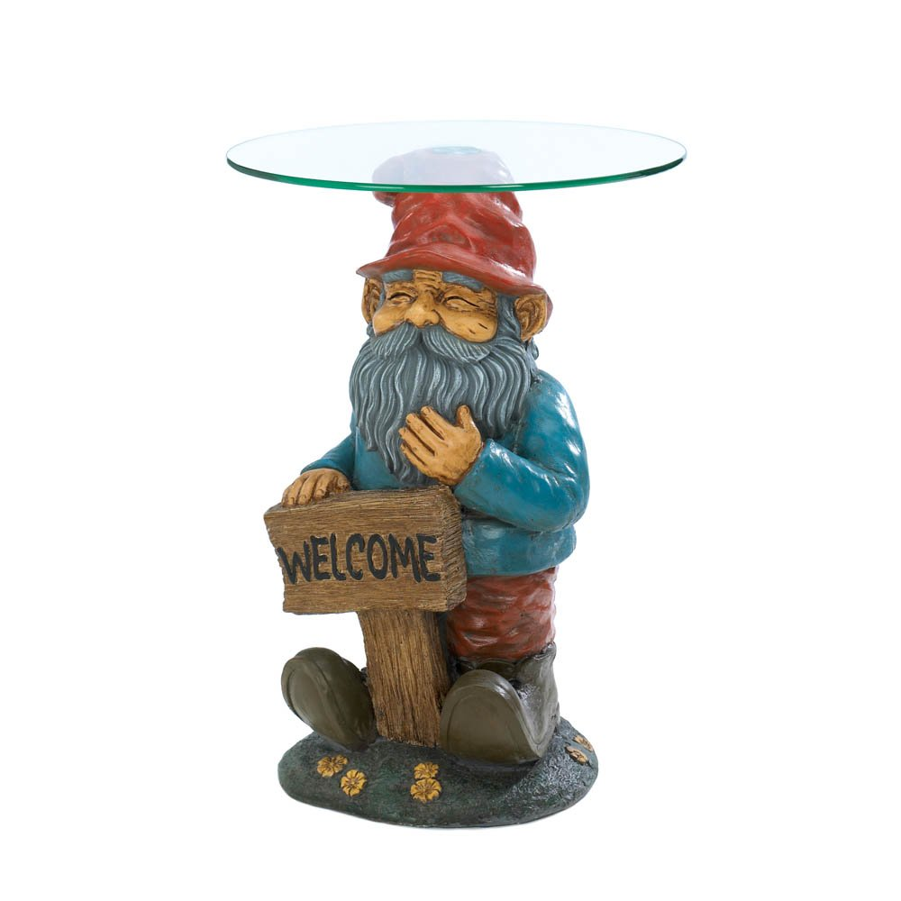 glass top end table garden gnome decor rustic accent tables decorative living room coffee round patterned lamp shades wood and acrylic grey gloss nest gold ice bucket holder