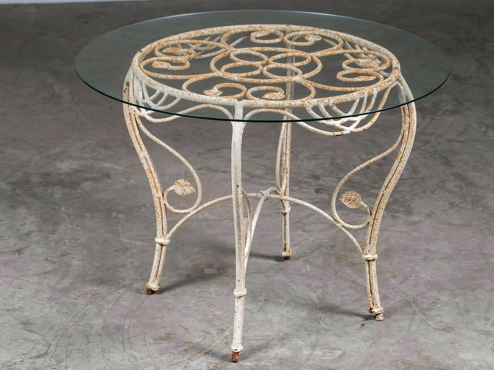 glass top garden tables table shattered round square outdoor side vintage french painted iron base circa with kitchen astonishing master arts and full size wide bedside cabinets