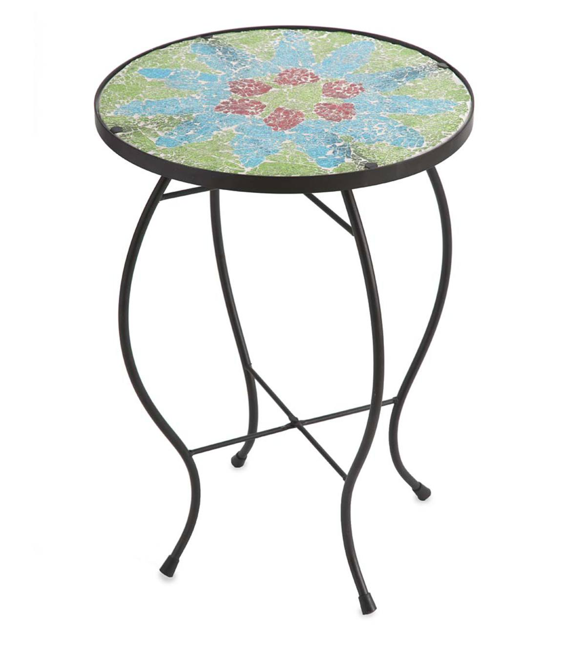 glass topped mosaic design accent table plant stand plowhearth green metal legs gold decorative accessories drummer stool adjustable height nic bench comfortable drum throne
