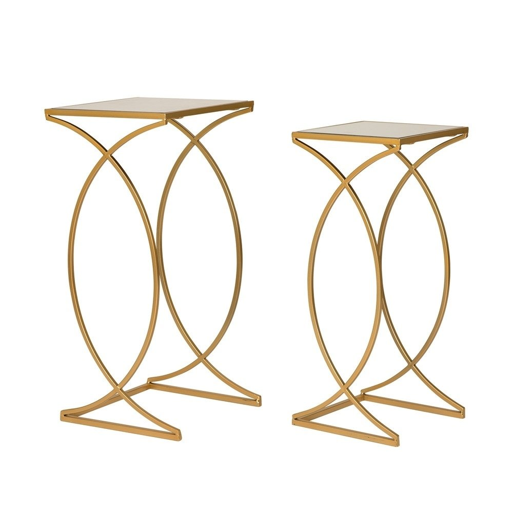 glitzhome metal glass gold accent table set free shipping today lucite and brass coffee piece end tables solid wood corner kitchen with leaf tall sofa plexiglass nesting new