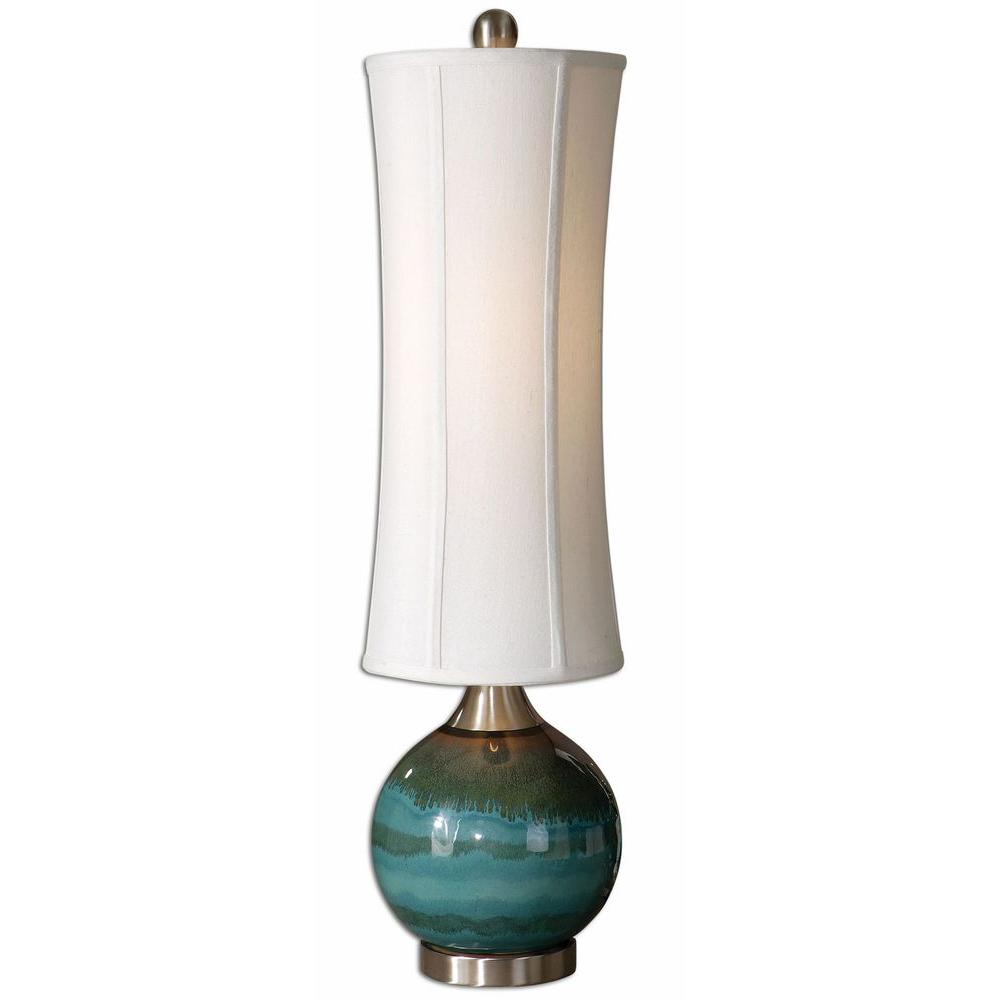 global direct blue ceramic accent lamp the glossy with olive gray drip rust accents and brushed aluminum details table lamps decorative boxes lids red white oriental farm style