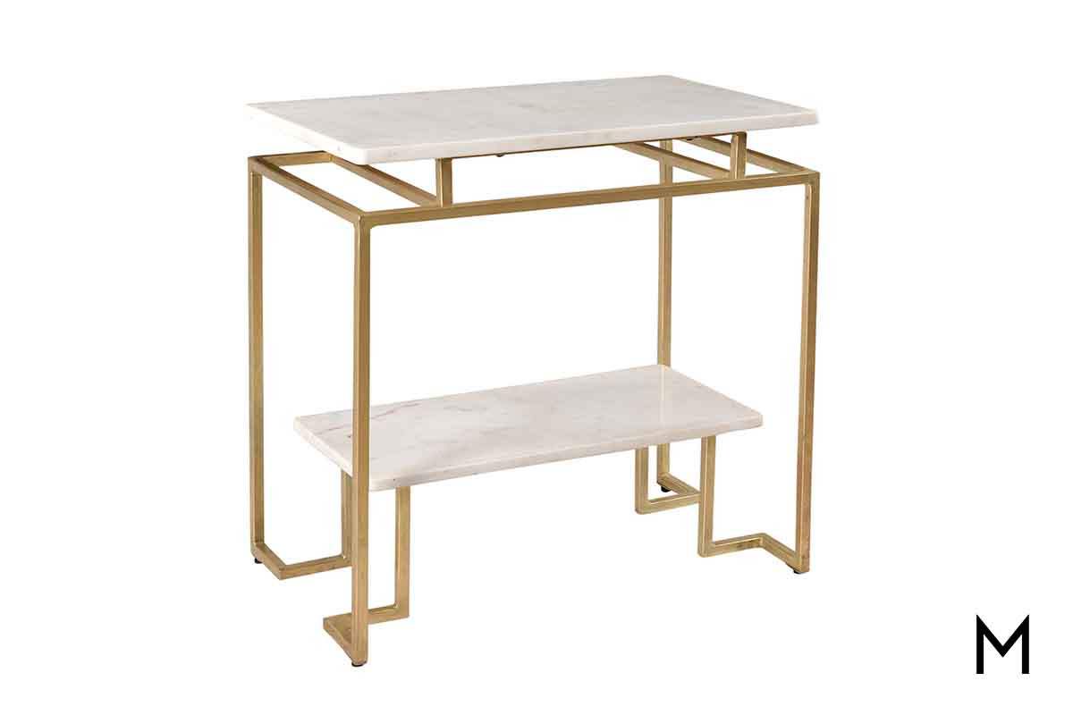 gloria two tiered accent table metal featuring marble top and gold finished base bottle wine rack small pedestal side clear console swivel coffee white linen runner antique long