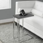 glossy grey hollow core chrome metal accent table products small perfectly tapered that fits independently with any furniture your home this smooth finished has ample surface 150x150