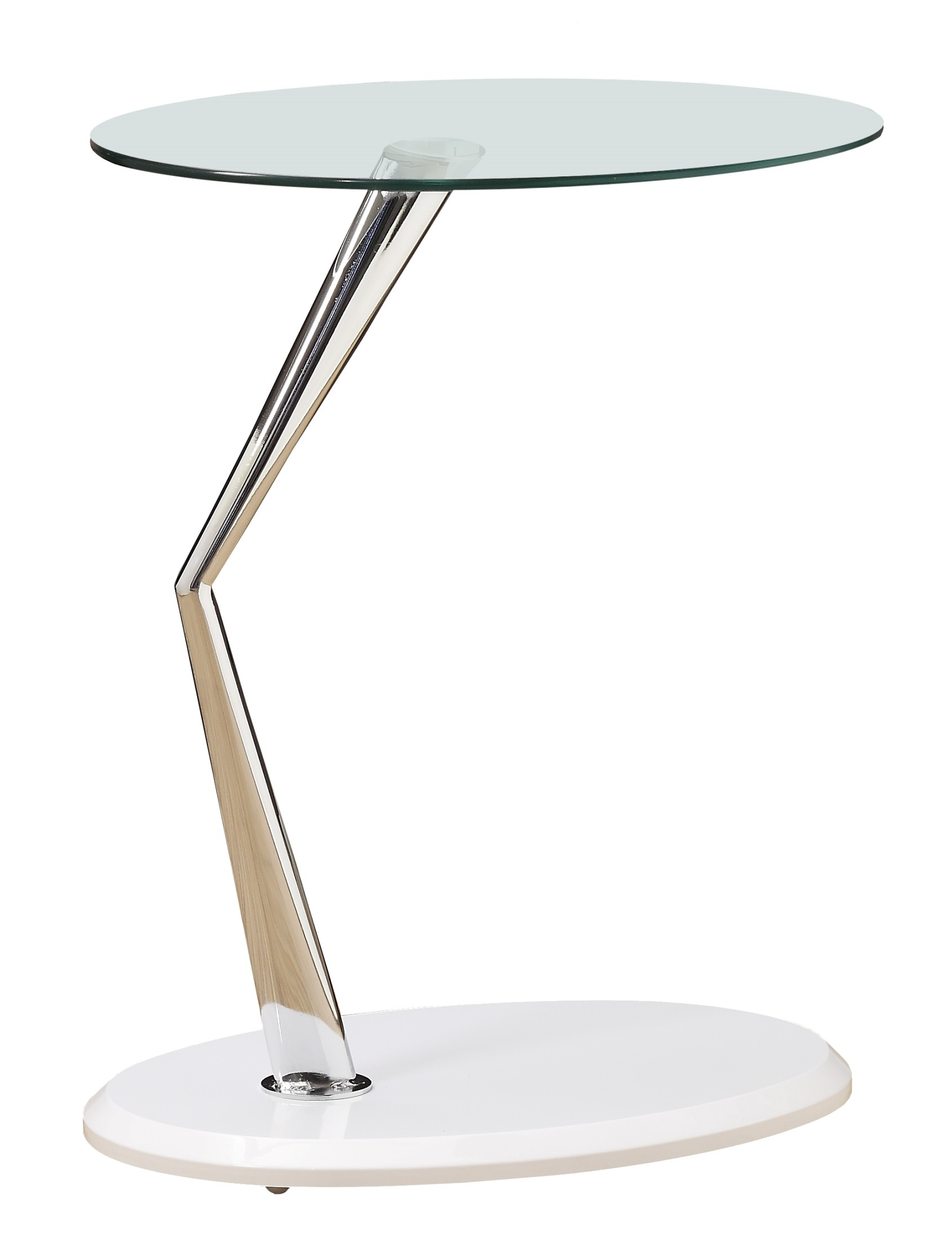 glossy white chrome metal accent table from monarch outdoor small build side rattan chairs cream bedside tables nautical lighting ideas cloth design mosaic outside black round off