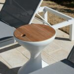 gloster bells side table with ice bucket insert outdoor furniture tables make statement their teak tops and hidden keep your drinks cool dining bench modern nest coffee nut milk 150x150