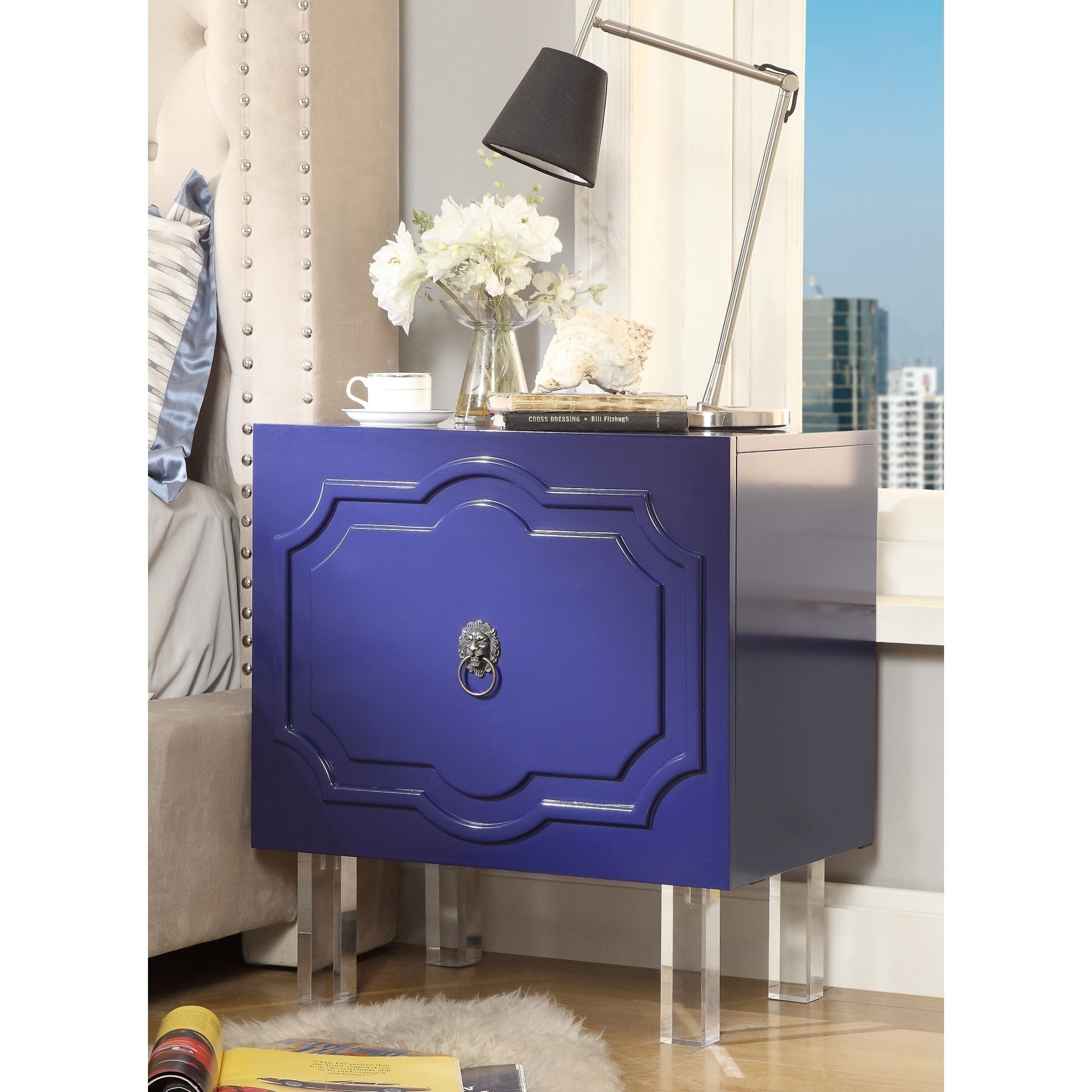 gobi mdf wood lacquer chrome side table accent nightstand navy blue west elm industrial lucite solar umbrella cocktail sets cherry dining room and chairs frosted glass coffee