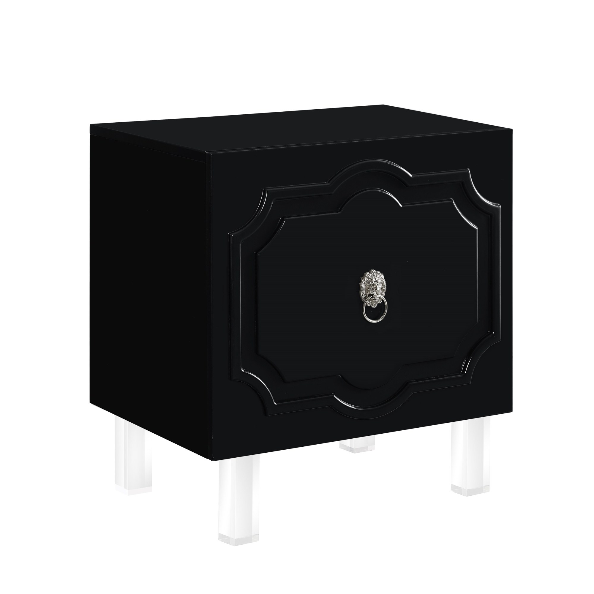 gobi wood lacquer chrome side table accent nightstand mdf black free shipping today beach themed furniture replica retro bedroom dressers iron patio beverage cooler yellow console