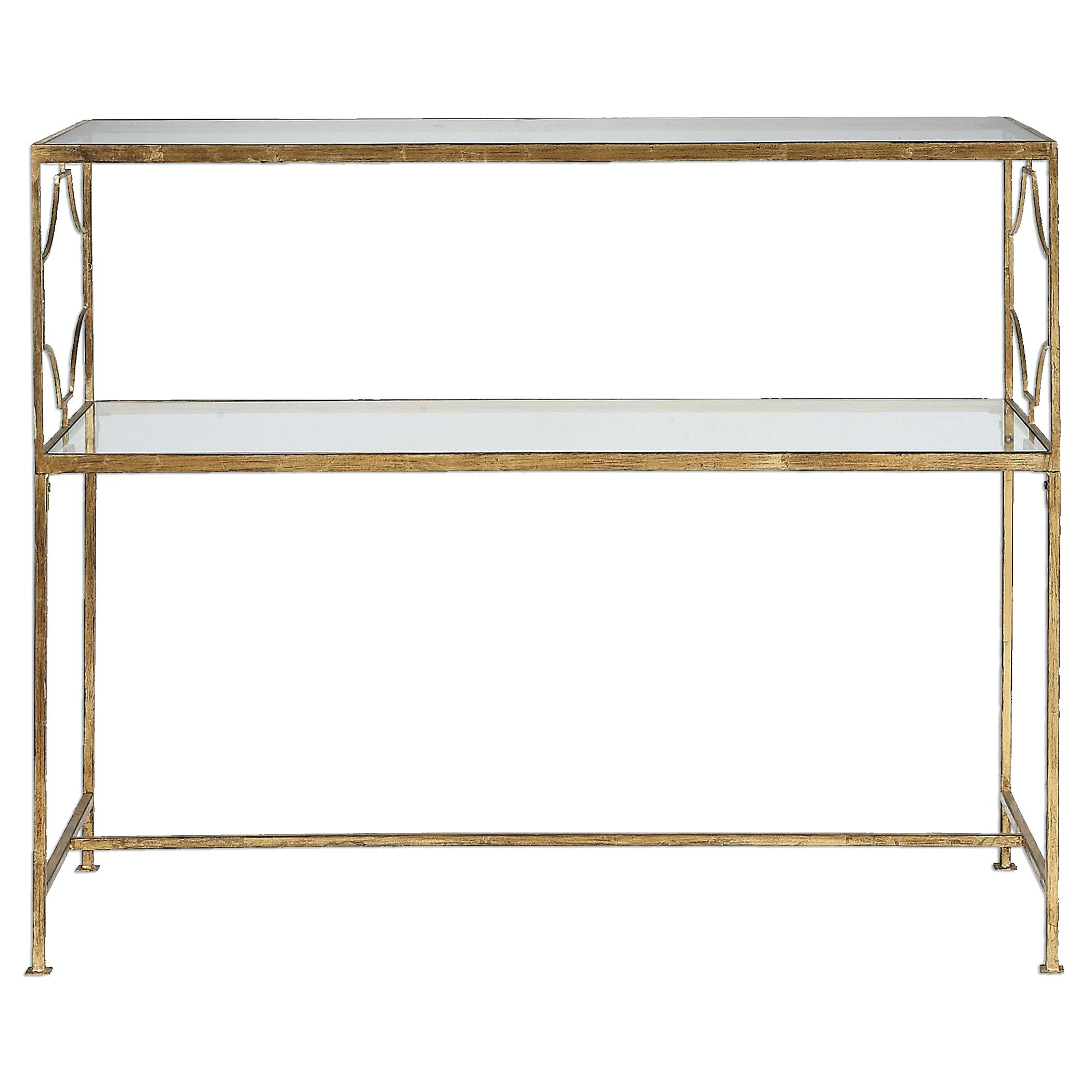 gold accent console table and glass modern uttermost furniture iron light floor lamp patio swing small metal end replacement cushions for black nightstand retro couch bohemian