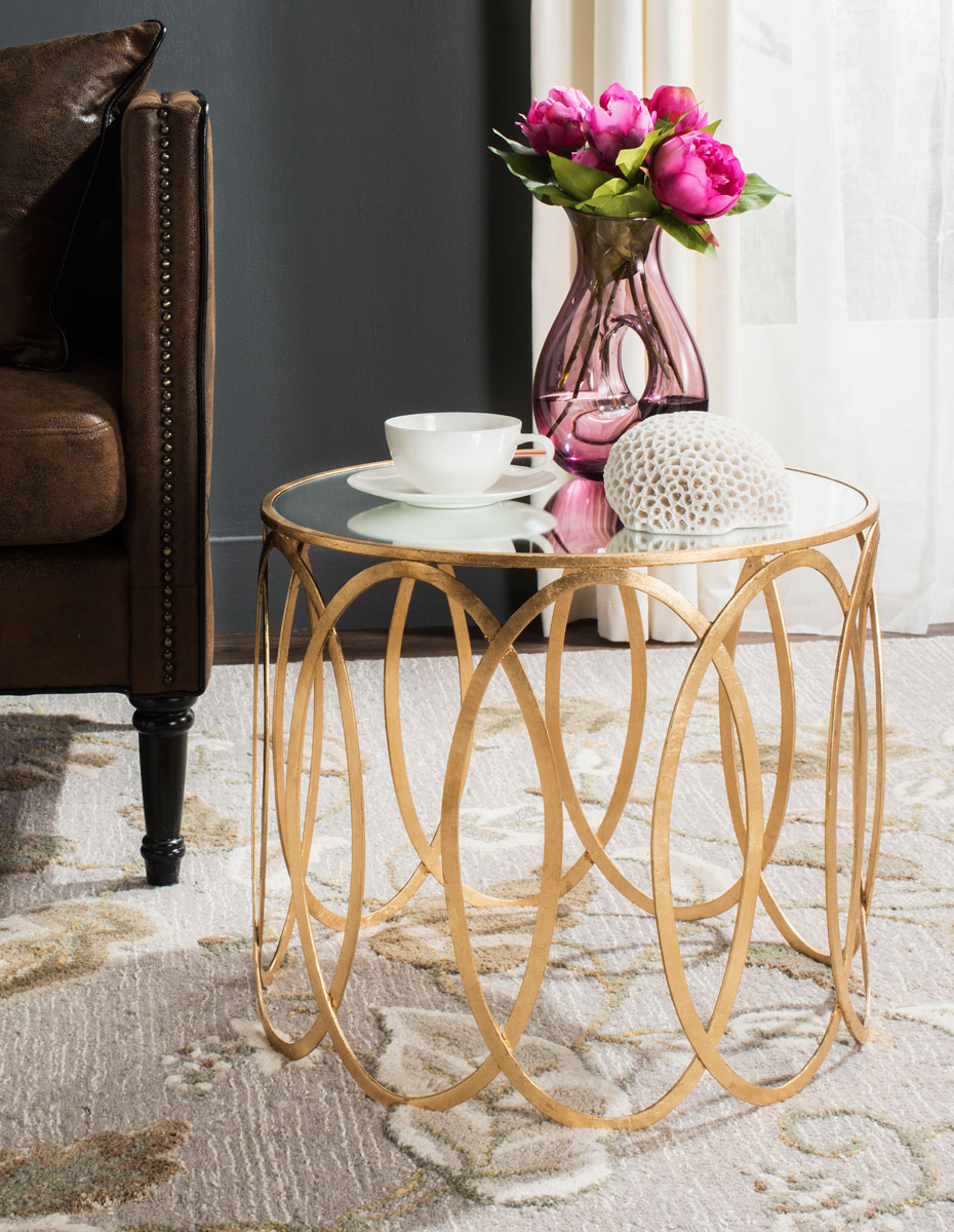 gold accent table end tables safavieh room metal share this product skinny wine rack shower curtains cherry dining kitchen sets teal chair lamp corner pottery barn bunk beds