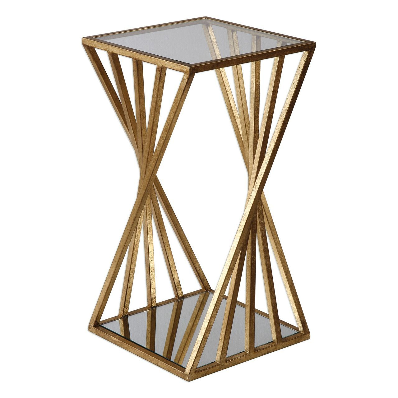 gold angle geometric square accent table open pedestal column modern end golden angles room lamp black mirrored bedside tall thin lamps acrylic nightstand secret gun compartment