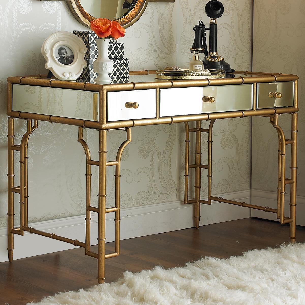 gold bamboo and mirror vanity desk mirrored glass accent table with drawer golden metallic frame fronts round wood metal coffee leaf inch wide side mid century dining chairs