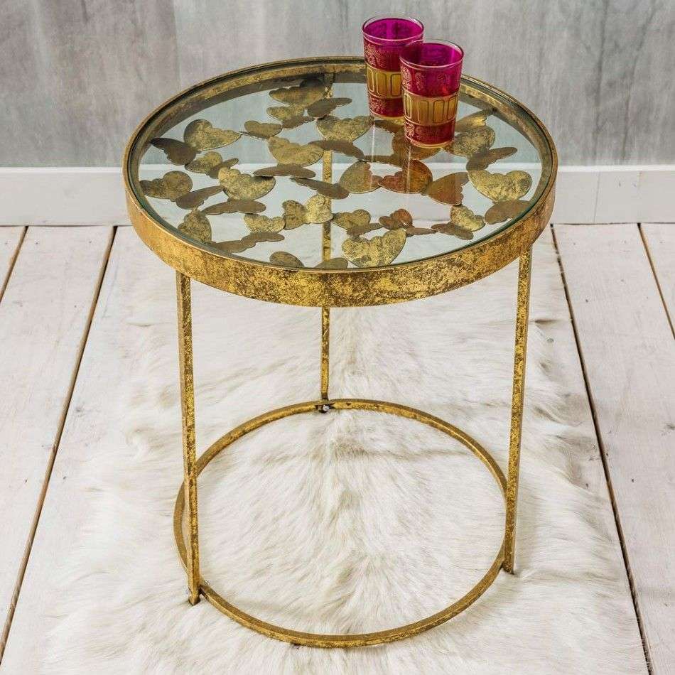 gold butterfly side table graham green deco living antique faceted accent with glass top kitchen and dining room chairs queen futon cover brass coffee essentials lamp barn door