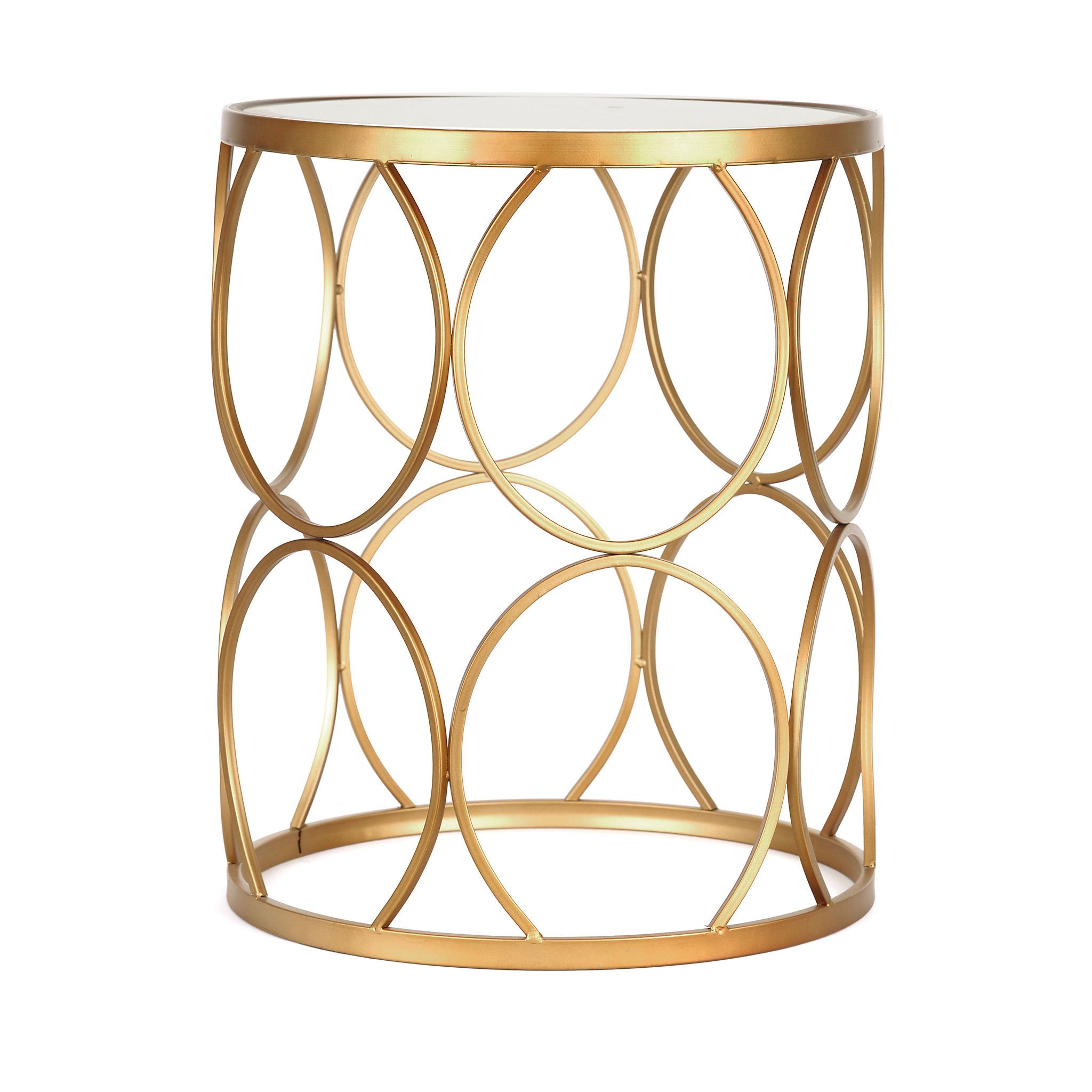 gold circles mirrored side table furniture accent kirklands oak lamp end tables dining room wall decor ideas unusual coffee patio swing crackle glass counter height kitchen with