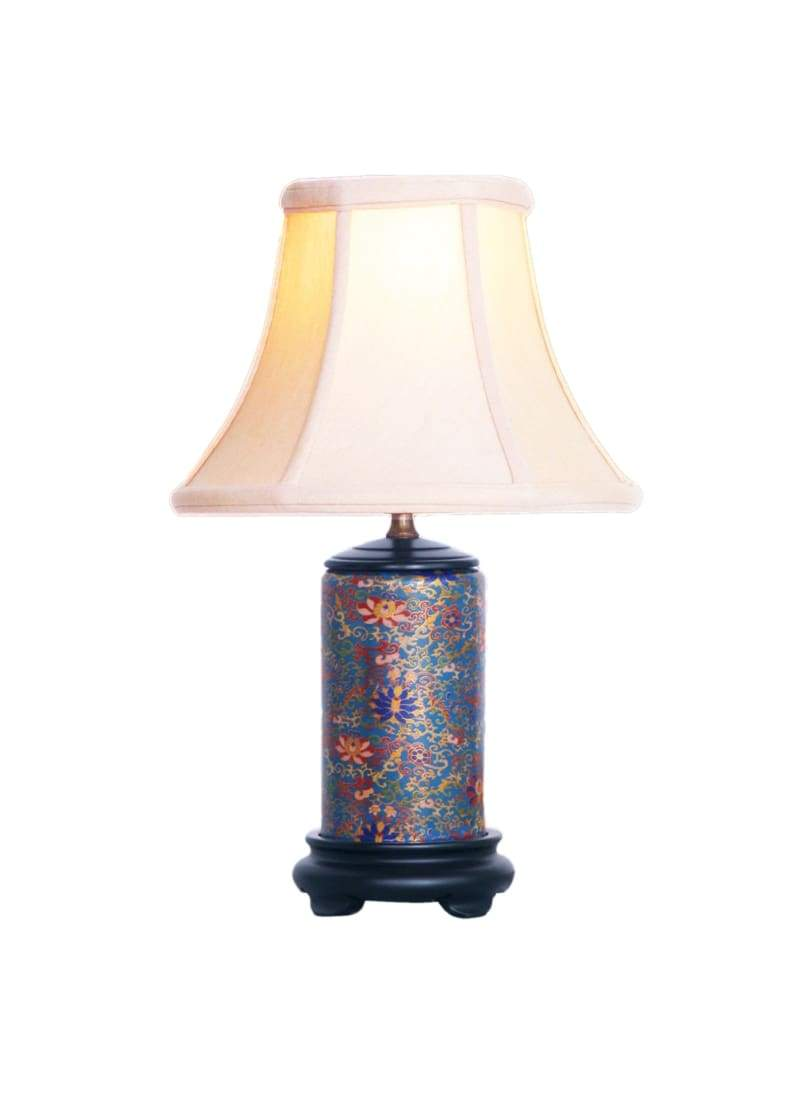 gold cloisonne mini porcelain table lamp oriental shade accent lamps chinese lighting style east enterprises orientallampshade light fixture accessory white retro furniture