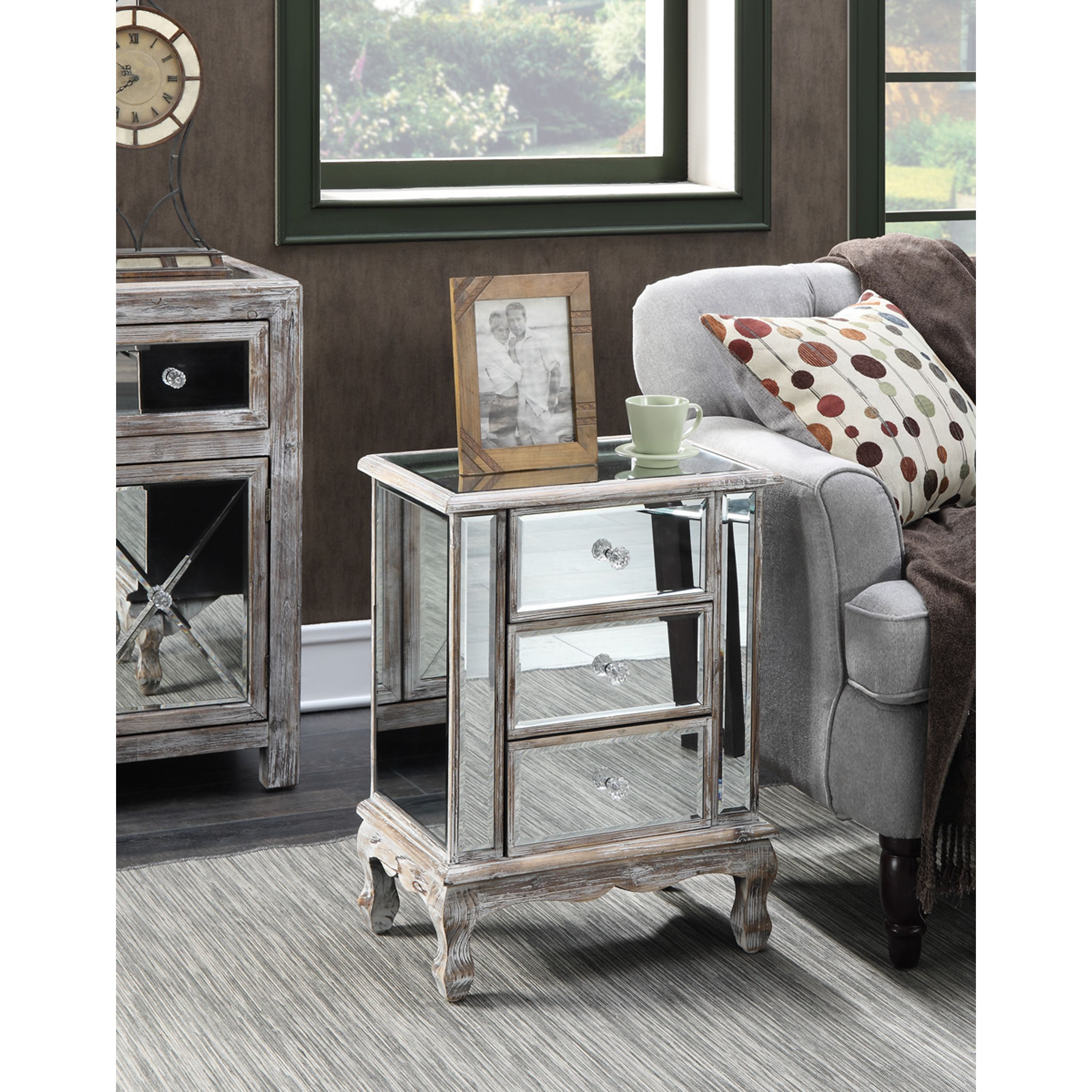 gold coast vineyard drawer mirrored end table weathered gray accent grey snack west elm box frame coffee mission brass side dining with six chairs sheesham wood nest tables ikea