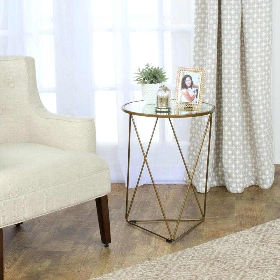 gold end table ontheset info metal accent triangle base round glass top runner target malm nightstand pier one seat cushions inch covers small living furniture kitchen dining