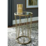 gold finish accent table with round glass top and twisted rope products signature design ashley color phillmont accents outdoor lounge chairs parsons coffee metal pedestal base 150x150