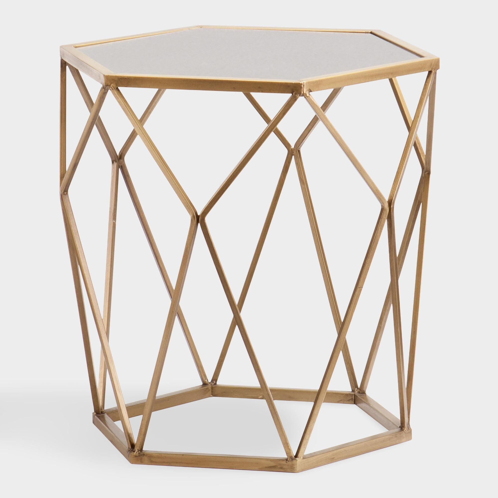 gold geometric mirrored adair accent table world market glass small bar height high top dining room set round marble bistro the outdoor furniture with drawer cordless reading