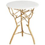 gold iron branch white marble top accent end table bamboo coffee tablecloth measurements off distressed pier one wall decor kitchen chairs amish oak tables cordless lamps pottery 150x150