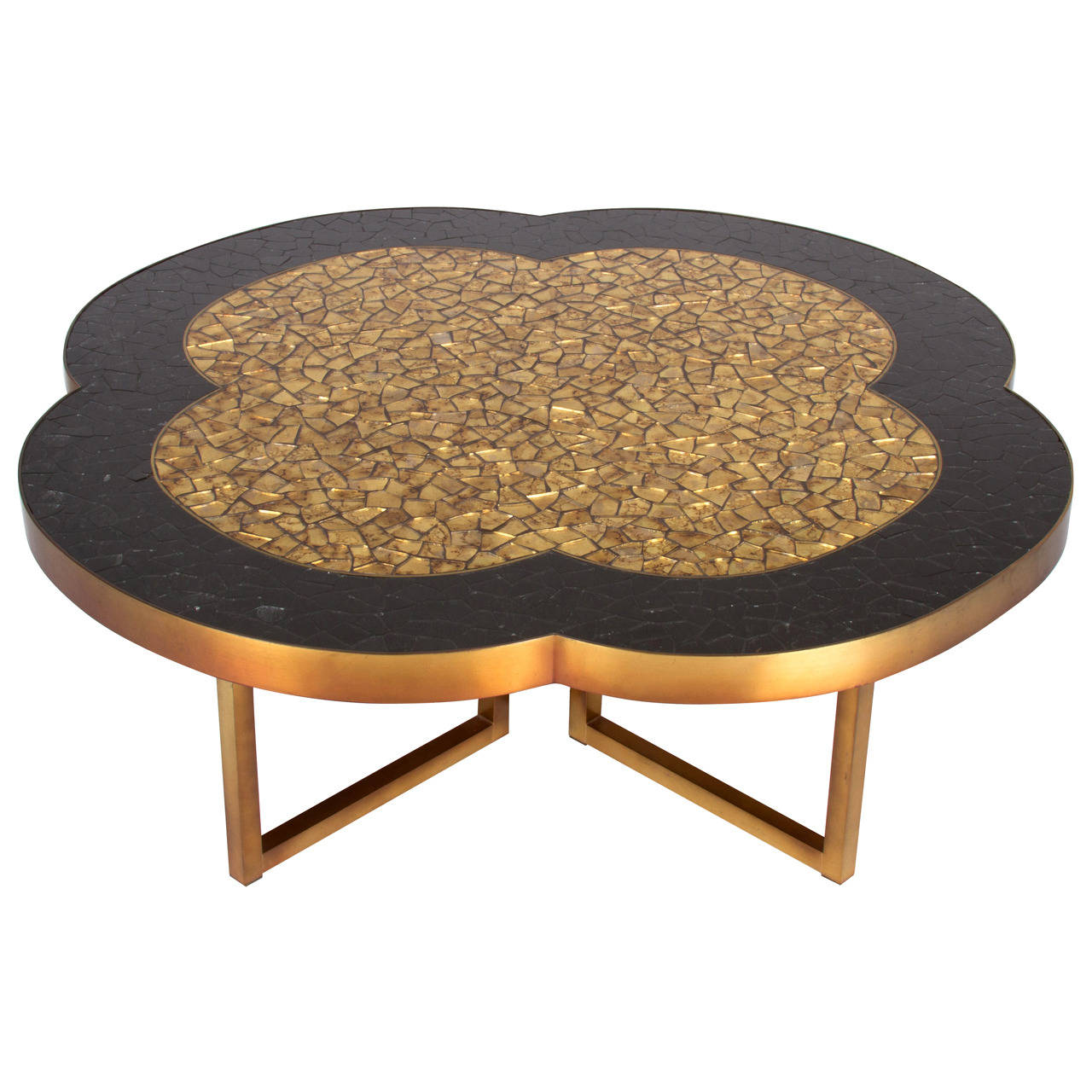 gold leaf and black glass mosaic quatrefoil coffee table ping wood accent runner lightweight concrete furniture dining set small round three piece bedroom chairs for spaces