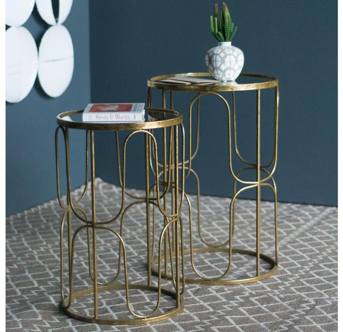 gold leaf design group society accent table set modish tables pool umbrellas bunnings white wicker furniture pier one round quilted toppers timber trestle legs wood patio side