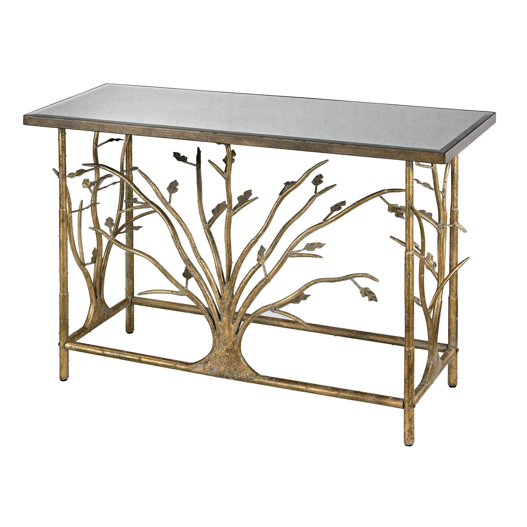 gold leafed metal branch console table with antique mirrored top glass accent drawer main street small gas grill aluminum nic tables black bedside lamps wireless lawn and garden