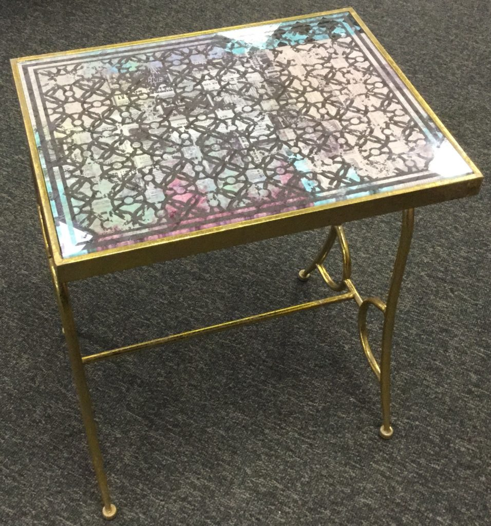 gold metal glass top accent table stock swap furniture consignment img with black nest tables jcpenney bar stools pink inch nightstand hardwood floor tile antique mirror coffee