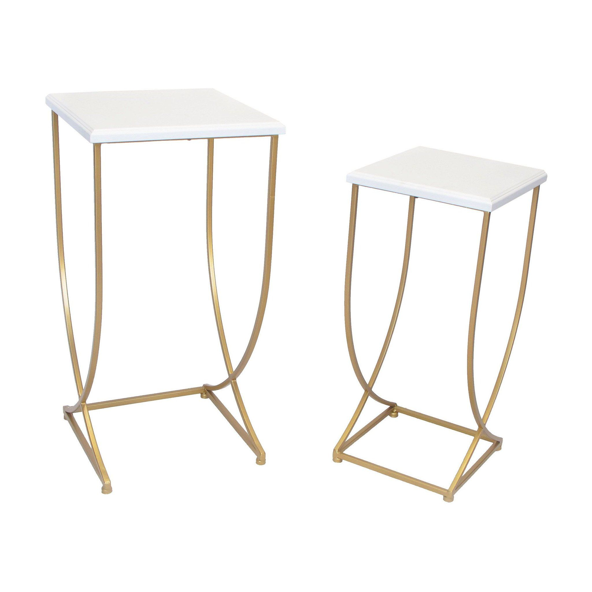 gold metal tall nesting side table set with white top everything room essentials accent ethan allen console lobby chairs christmas linen tablecloths small nautical bathroom vanity