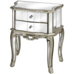 gold mirrored side table home design ideas curved top bedside with double mirror drawer and carved accent silver high legs interior idea espresso nightstand modern nightstands 150x150